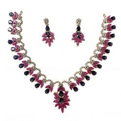 Sterling Silver Iolite Ruby Necklace