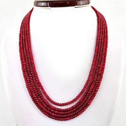 Fine Quality Natural Plain Ruby Beads Necklace