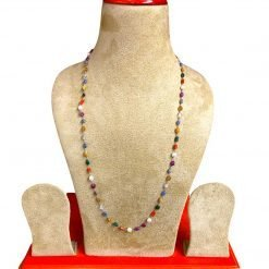 25 Inches long natural Navratna Necklace in Silver Wire