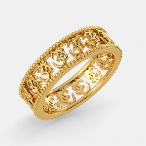 14k Solid Gold Om Ring