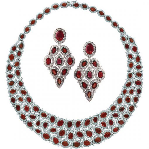 Sterling Silver Big Bridal Ruby Necklace with Earrings