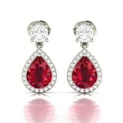 Zircon Ruby Earrings in Sterling Silver
