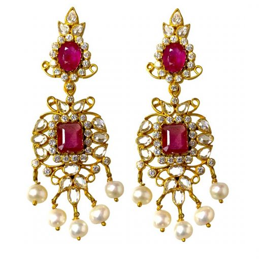 Handmade Sterling Silver Zircon Polki Ruby Earrings