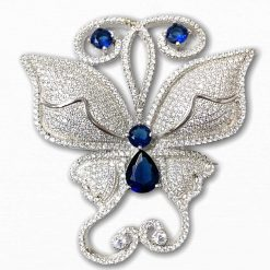 Fine Sterling Silver Blue Sapphire Butterfly Pendant Pin