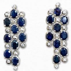 Sterling Silver Blue Sapphire long Earrings