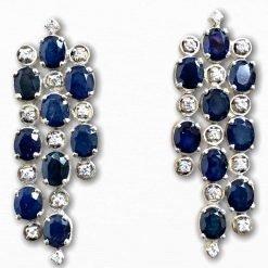 Sterling Silver Blue Sapphire long Earrings