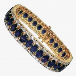 High Quality White Topaz Blue Sapphire Tennis Bracelet