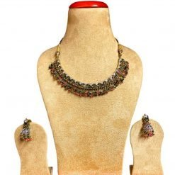 Vintage Design Tourmaline Necklace with Earrings