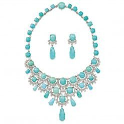 High Quality Turquoise Bridal Necklace with Earrings