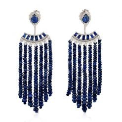 3.00 Inches Long Blue Sapphire Beads Earrings