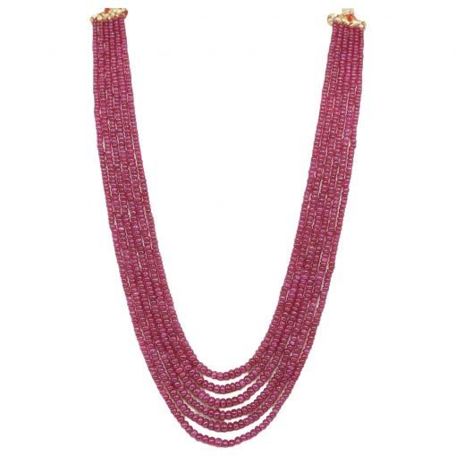 Natural 6 Strands Ruby Beads Necklace