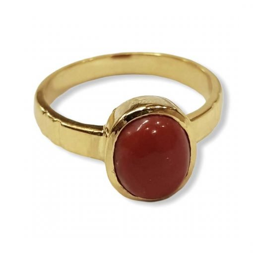 18k Solid Gold 3.00 Carats Natural Certified Coral Ring