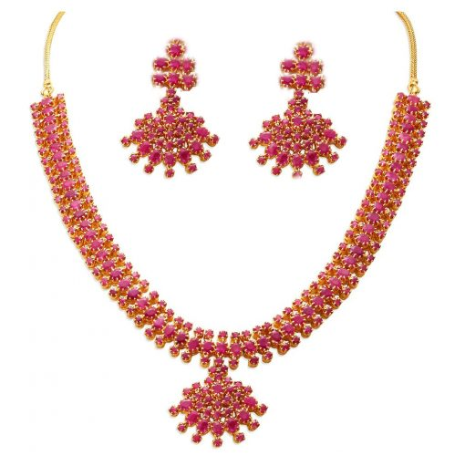 Traditional Design Ruby Necklace with Earrings
