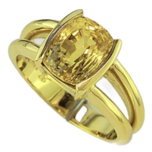 Premium 18k Gold Cushion Yellow Sapphire Ring