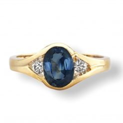 14k Solid Gold Diamond Sapphire Ring