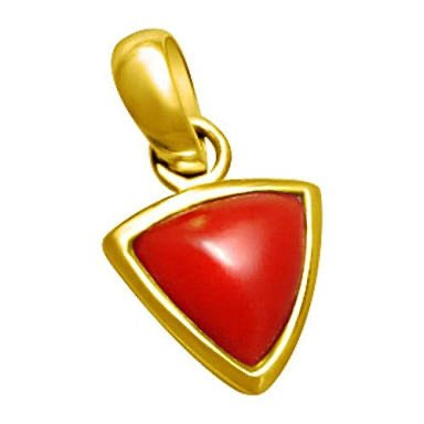 18k Hallmarked Gold Coral Triangle Pendant