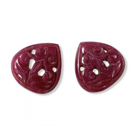 29.00 Carats Natural Ruby Carving Pair