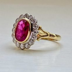 Fine Vintage 18KT Certified Ruby and Diamond Cluster Ring