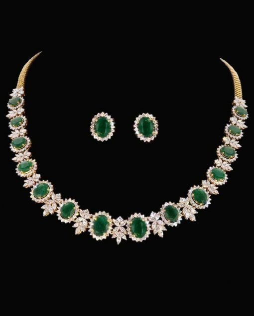 Emerald Statement Necklace with Studs Earrings