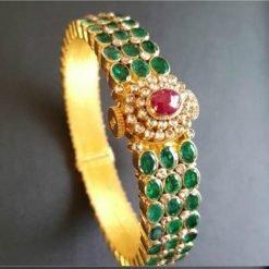 Premium Design Broad Emerald Openable Kada Bangle