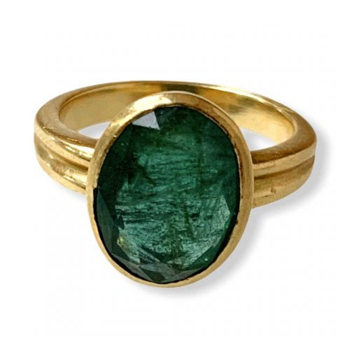 4.01 Carats Natural Certified Emerald Ring in18k Gold