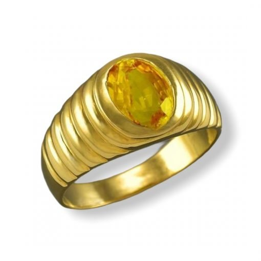 4.15 Carats Certified Natural Yellow Sapphire 18k Gold Ring