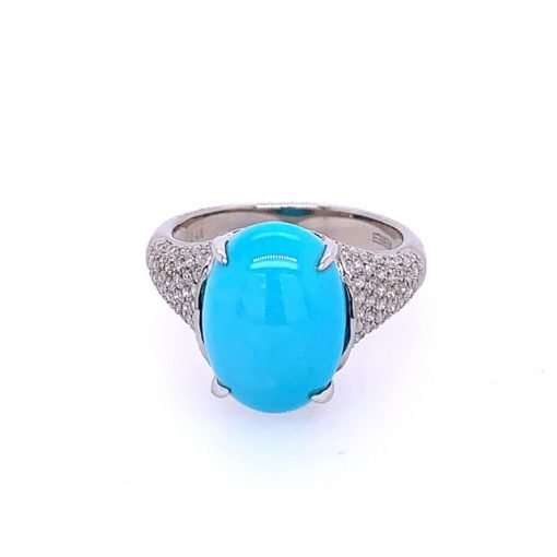 Zircon and Turquoise Ring in Sterling Silver