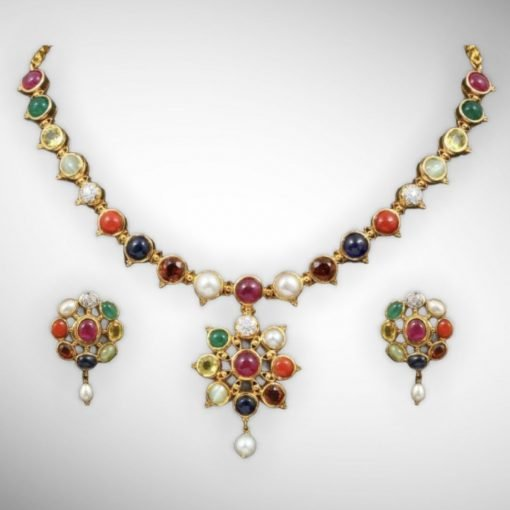 Premium Quality Navratna Necklace with Earrings