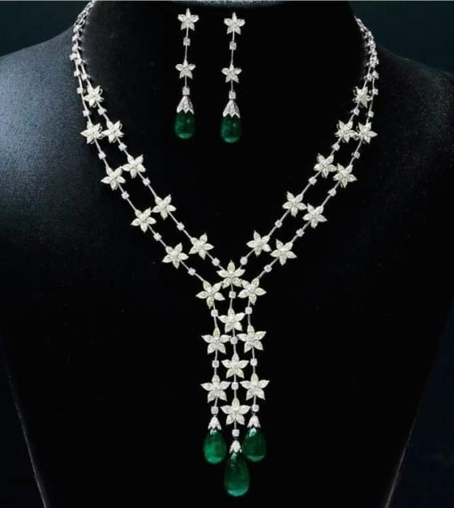 Premium Quality Emerald Tear Drop Necklace in Sterling Silver
