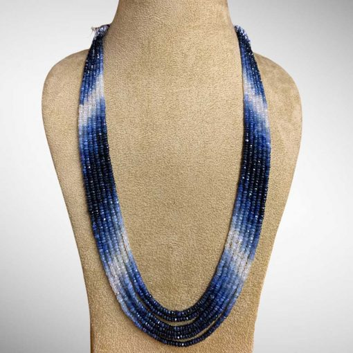 Fine Quality Blue Sapphire Shaded Beads Necklace