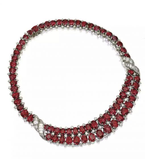Sterling Silver Big Bridal Ruby Necklace