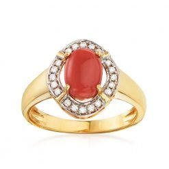 Natural Coral and Diamond Ring in 14k Solid Gold