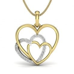 14k Gold Diamond Heart Pendant For Valentine Gift
