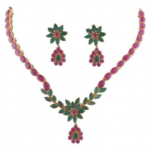 Premium Design Ruby Emerald Necklace with Earrings