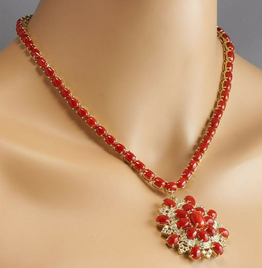 Fine Design Gold Plated Sterling Silver Coral Necklace