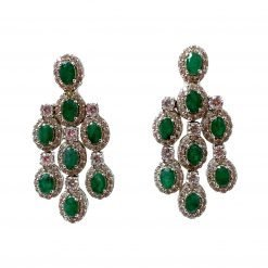 2.2 Inches Long Sterling Silver Emerald Dangle Earrings