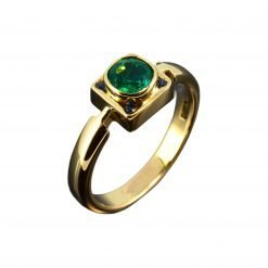 3.00 Carat Emerald Round RIng in 18k Gold