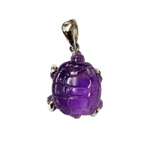 Carved Amethyst Tortoise Pendant in Sterling Silver