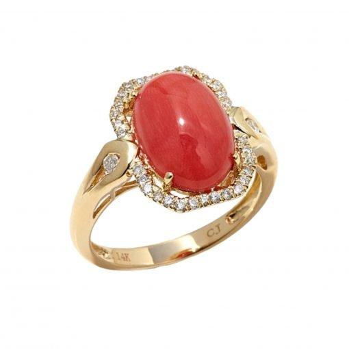 14k Natural Premium Japan Coral Gemstone Ring
