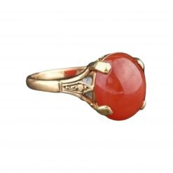 6.50 carats Natural Red Coral Ring in 18k Gold
