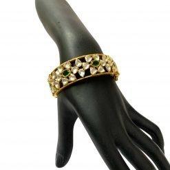 Sterling Silver Zircon Polki Bangles With Emeralds