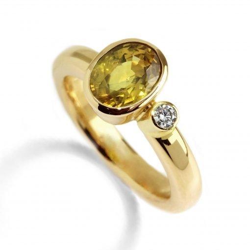 14K Yellow Gold Yellow Sapphire Diamond Ring