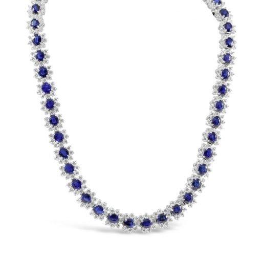Premium Sapphire Chain Necklace In Sterling Silver