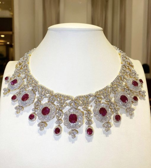 Premium Ruby Bridal Necklace in Sterling Silver