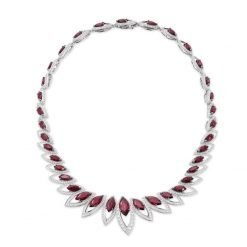 Ruby Necklace with Earrings and Bracelet in Sterling Silver