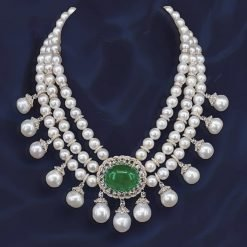 Emerald Pearl Necklace in Sterling Silver
