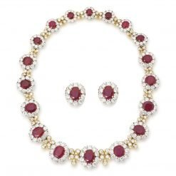 Premium Quality Ruby and White Topaz Necklace
