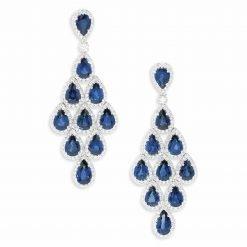 2.6 Inches Long Blue Sapphire Dangle Earrings