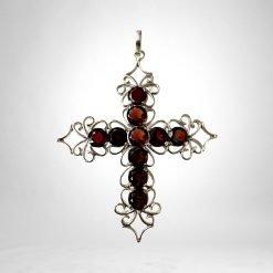 Vintage Design Garnet Cross Pendant
