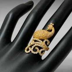 Fine Zircon Studded Peacock Ring in Sterling Silver